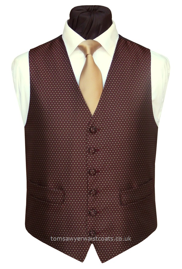 Wedding Waistcoats : Burgundy / Wine Waistcoats : 'Camberwell' Dark Burgundy Lattice and Gold Spot Waistcoat