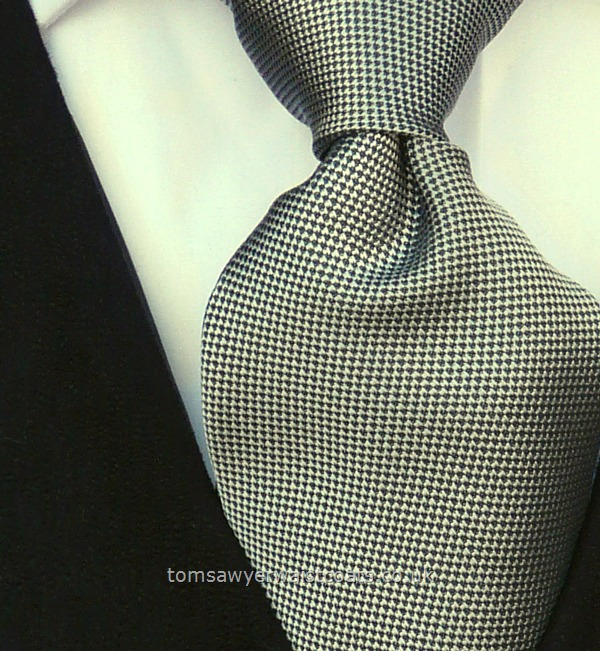 Wedding Waistcoats : Blue Waistcoats : Featured Neckwear: Mayfair Silver & Charcoal Grey Necktie