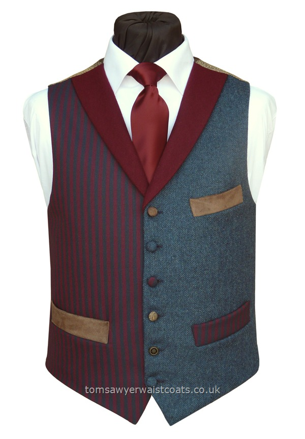 "Traditional Waistcoats : ""The Totnes Collection"" waistcoats : ""The Fox Tor"" Totnes Collection Burgundy & Navy Blue Stripe Waistcoat"