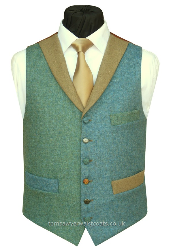 "Traditional Waistcoats : ""The Totnes Collection"" waistcoats : ""The Calveslake Tor"" Totnes Collection Marine Blue & Sea Green Waistcoat"