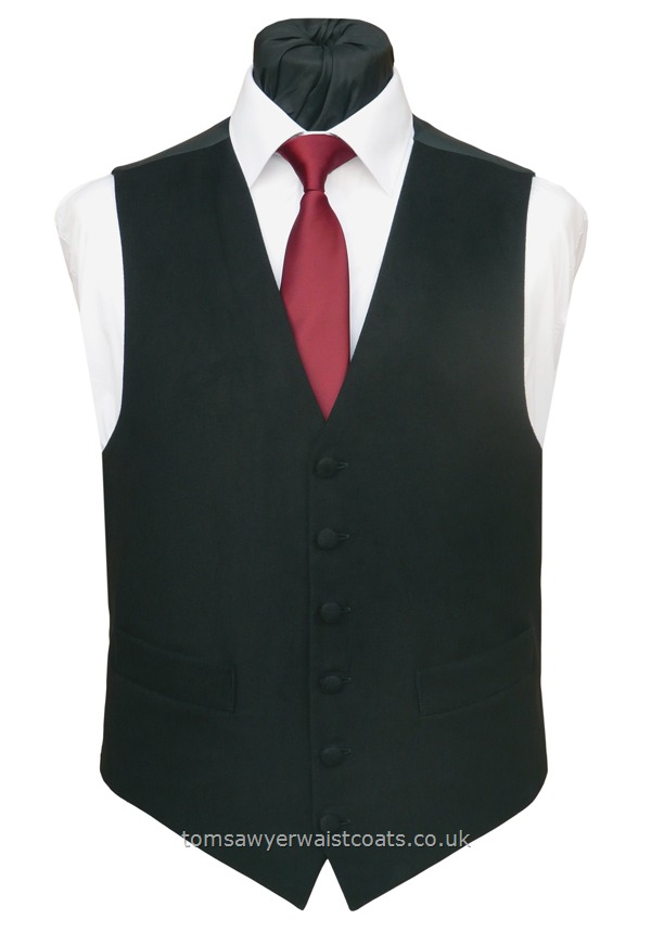 Black Cotton Moleskin Low Neck Classic Waistcoat