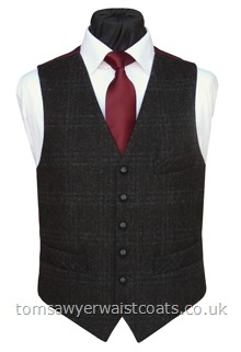Charcoal 'Barely There Check' Waistcoat with Burgundy Twill Back