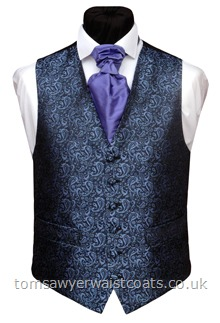 Violet Shimmer Paisley on Black Waistcoat