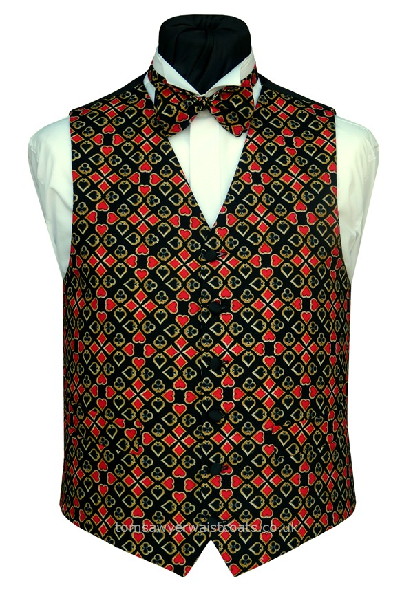 Any suit will do with this playing card themed waistcoat! A pattern of hearts, diamonds, clubs and spades make this design ideal for card players and magicians. Waistcoat Style- TS448- Front Fabric- Cotton- Colour- Black, Red and Gold- Buttons- Black Satin Covered- - Back-Front Lining- Black Polyester- You can click here to view our waistcoat size chart. -