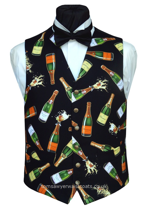 Champagne bottles featuring popping corks adorn this waistcoat. - Waistcoat Style- TS450- Front Fabric- Cotton- Colour- Multi- Buttons- Gold Patterned- Back & Lining- Black Polyester- You can click here to view our waistcoat size chart. - -