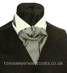 Mayfair Silver Grey Self Tie Wedding Cravat with matching hankie