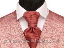 Wedding Waistcoats : Pink Waistcoats : Featured Neckwear - Regency Pink Silk Pre Tied Scrunchie