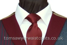"Traditional Waistcoats : ""The Totnes Collection"" waistcoats : Featured Neckwear - Burgundy Satin Necktie"