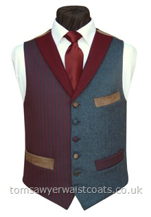 The Fox Tor Totnes Collection Burgundy & Navy Blue Stripe Waistcoat