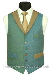 The Calveslake Tor Totnes Collection Marine Blue & Sea Green Waistcoat