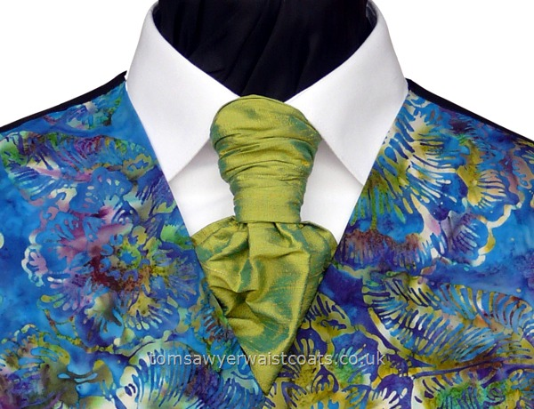 Wedding Waistcoats : Beach Wedding Waistcoats : Featured Neckwear - Shot Lime Silk Pre-Tied Scrunchie