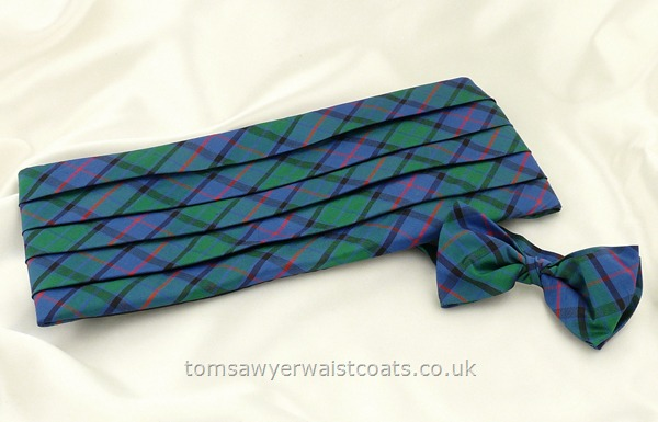 Neckwear : Cummerbund Sets with Bowtie & Cummerband : Flower of Scotland Tartan Cummerbund and Pre-tied Bowtie