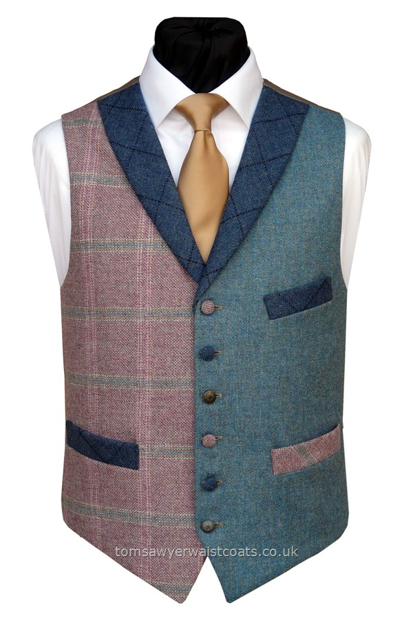 "Traditional Waistcoats : ""The Totnes Collection"" waistcoats : ""The Thornworthy Tor"" Totnes Collection Pink & Blue Tweed Waistcoat"