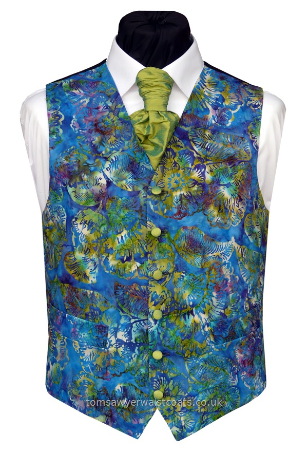 Bali Purple and Lime Batik Waistcoat