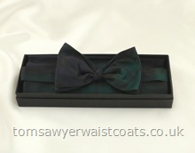 Black Watch Tartan Ready-Tied Silk Bowtie with matching hankie