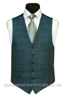 Aegean Blue & Navy Check Tweed Waistcoat with Navy Paisley Back & Lining