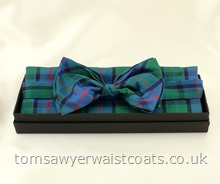 Flower of Scotland Tartan Ready-Tied Silk Bowtie with matching hankie