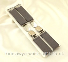 Grey Clip-On Braces with Silver Clips