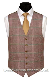 Heather Pink with Blue Check Wool Waistcoat