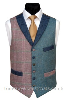 The Thornworthy Tor Totnes Collection Pink & Blue Tweed Waistcoat