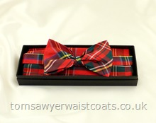Royal Stewart Tartan Ready-Tied Silk Bowtie with matching hankie
