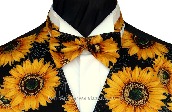 Bright yellow sunflowers on a black background- Style- Pre-Tied Bowtie- Colour- Yellow & black- Fabric- Cotton-