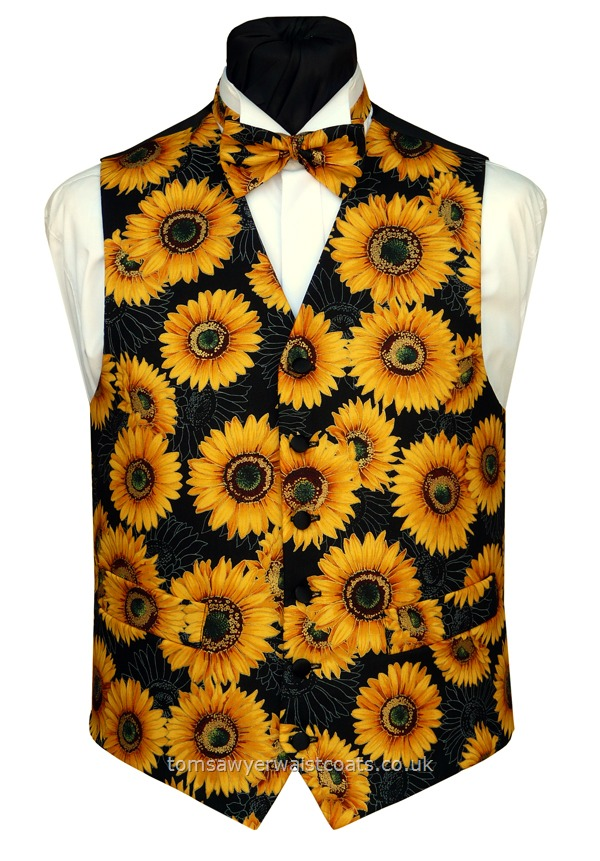 Golden sunflowers highlighted in metallic gold on a black background- Not Van Gough, but we think this waistcoat is rather cheerful! Fabric remaining for just one more of this popular waistcoat! Waistcoat Style- TS479- Front Fabric- Cotton- Colour- Yellow & Black- Buttons- Black satin covered- Back & Lining- Black Polyester taffetta- You can click here to view our waistcoat size chart. Featured shirt White Wing Collar Shirt- -