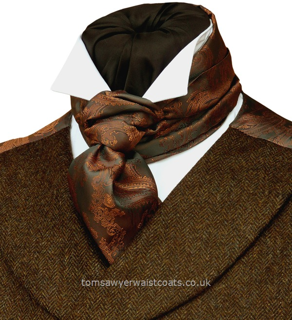 Neckwear : Day Cravats (Self-tie) : 'Darcy' Scarf-Cravat in Copper & Pewter Paisley
