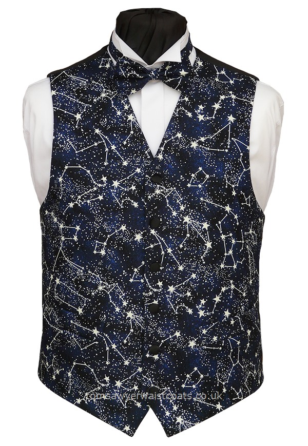 Glow in the dark stars adorn this waistcoat selected for all stargazers. Yes, it really does glow in the dark! Waistcoat Style- TS506- Front Fabric- 100% Cotton Print- Colour- Mottled blue and navy background- Buttons- Black Satin Covered- Back & Lining- Black Polyester- - - - -