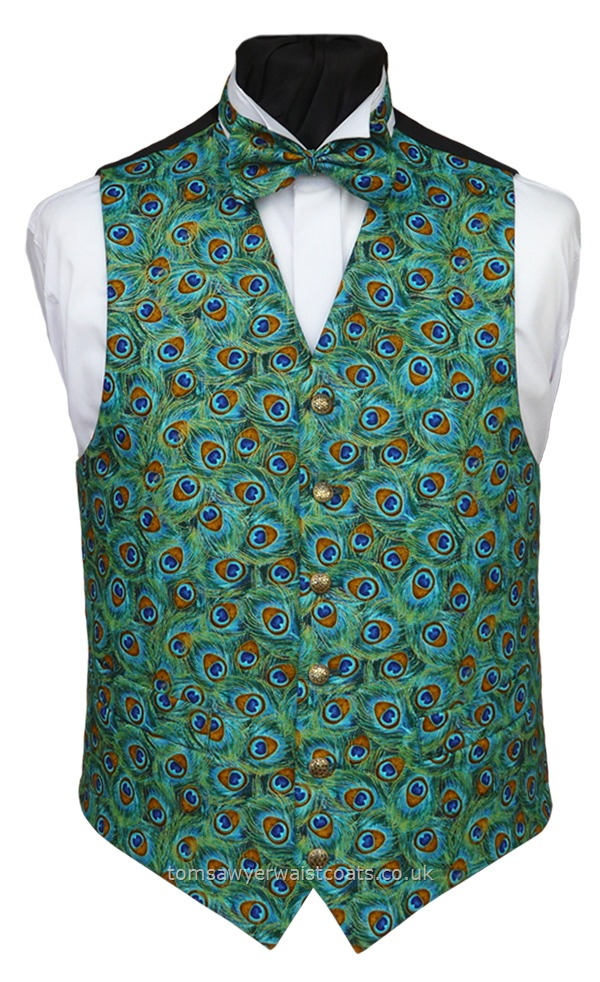 Peacock Tail Feathers Waistcoat