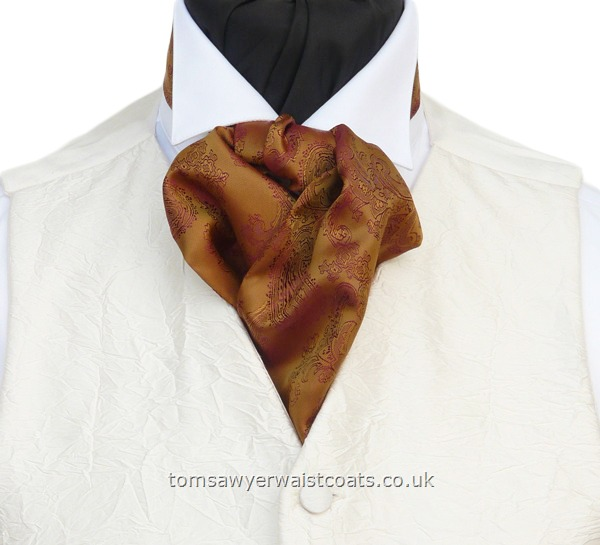 Neckwear : Cravats (Self-tie) : Gold/Red Two Tone Paisley Self Tie Cravat