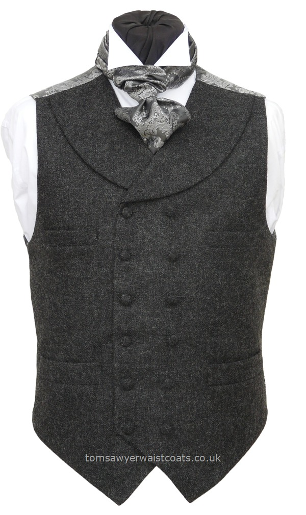 Traditional Waistcoats : Steampunk Waistcoats : Charcoal Grey Steampunk High Neck Double-Breasted Waistcoat with Shawl Collar