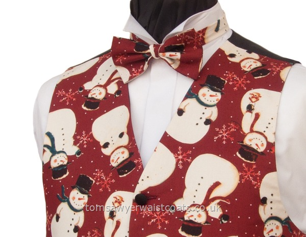 Christmas : Festive Waistcoats : Snowmen and Snowflake Russet Christmas Bowtie