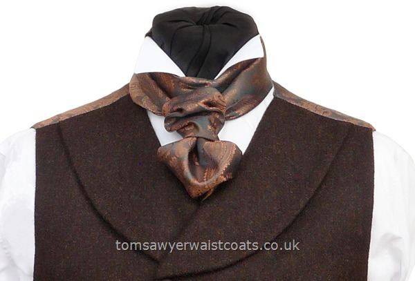 Traditional Waistcoats : Steampunk Waistcoats : Featured Neckwear - D'Arcy Scarf-Cravat in Copper & Pewter Paisley