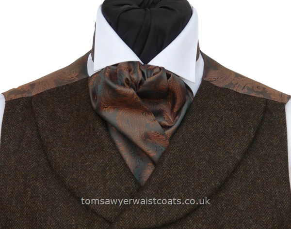Neckwear : Cravats (Self-tie) : Copper & Pewter Two-Tone Paisley Self Tie Cravat
