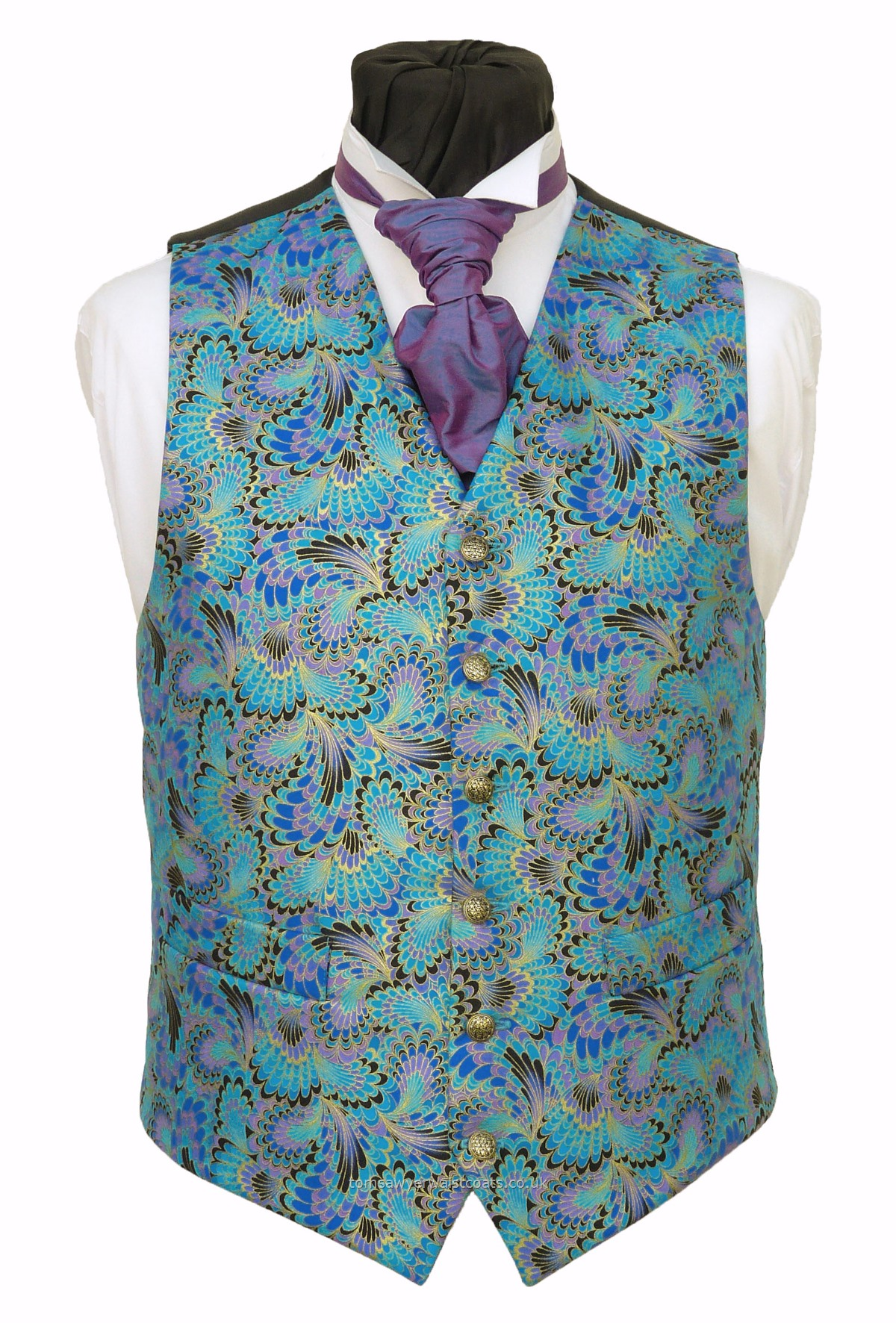 Fun Waistcoats : More Fun Waistcoats : Feathers And Wings - Shades Of Turquoise, Blue & lilac