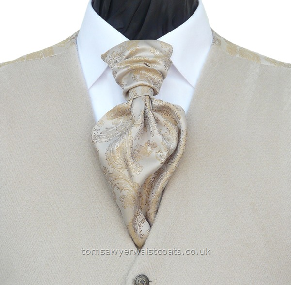 Neckwear : Scrunchies (Pre-tied) : Cream & Gold Paisley Ready Tied Scrunchy Tie with matching hankie