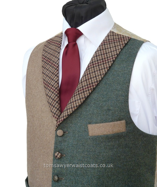 "Traditional Waistcoats : ""The Totnes Collection"" waistcoats : ''Haytor 2"" Highland Green & Camel Totnes  Collection Waistcoat."