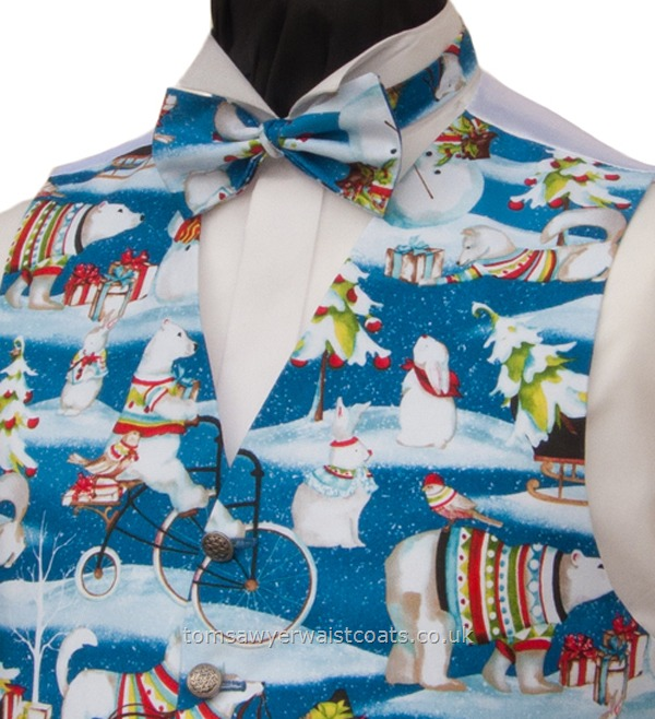 Christmas : Festive Waistcoats : Ice Time, Cool Blue Christmas Bow Tie