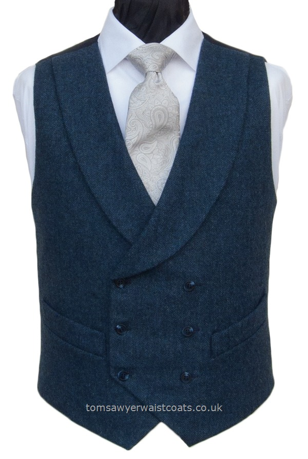 Traditional Waistcoats : Double Breasted Waistcoats : Petrol Blue Tweed Shawl Collar Double Breasted Waistcoat