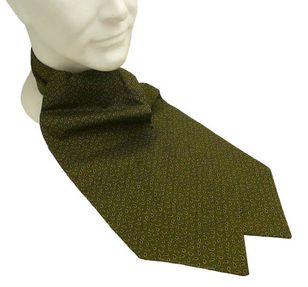 Neckwear : Day Cravats (Self-tie) : Princeton Green Paisley Cotton Day Cravat (Self-tie)
