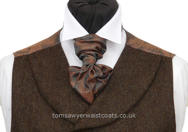 Neckwear : Scrunchies (Pre-tied) : Copper and Pewter Paisley Ready Tied Scrunchy Tie with matching hankie