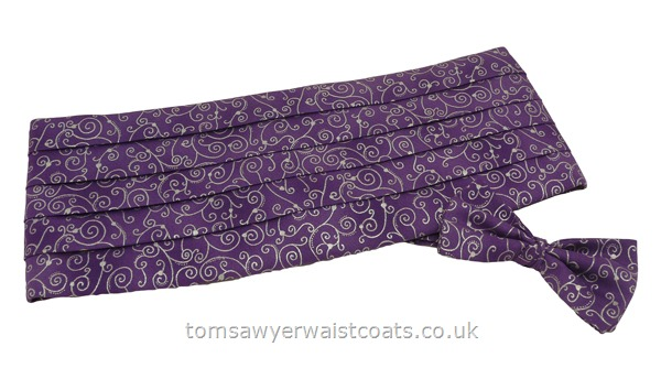 Neckwear : Cummerbund Sets with Bowtie & Cummerband : Silver Swirls on Purple Bowtie and Cummerbund