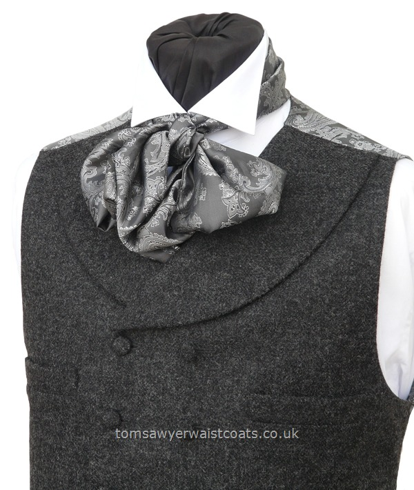 Traditional Waistcoats : Steampunk Waistcoats : Featured Neckwear - D'Arcy Scarf-Cravat in Grey and Silver Paisley