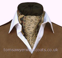 Neckwear : Day Cravats (Self-tie) : 'Tucson' Tan Stripe Cotton Day Cravat (Self-tie)