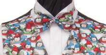 Penguins Christmas Ready - tied Bowtie