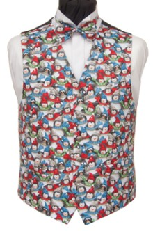 Cute festive penguins cover the front of this Christmas waistcoat. Waistcoat Style- TS523- Front Fabric- Cotton- Colour- Multi coloured- Buttons- Silver Patterned- - Back & Lining- Black polyester- You can click here to view our waistcoat size chart. Featured shirt White Wing Collar Shirt-