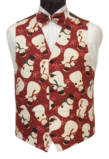 Snowmen and snowflakes in all directions adorn the russet burgundy background of this Christmas waistcoat. Waistcoat Style- TS521- Front Fabric- Cotton- Colour- Multi on Russet Burgundy- Buttons- Black Satin covered- - Back & Lining- Black polyester- You can click here to view our waistcoat size chart. Featured shirt White Wing Collar Shirt-