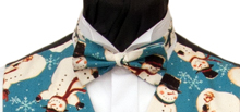 Snowmen and Snowflake Vintage Teal Christmas Bowtie