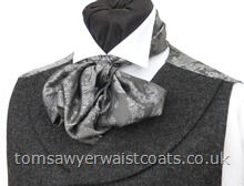 Featured Neckwear - D'Arcy Scarf-Cravat in Dark Grey and Silver Paisley